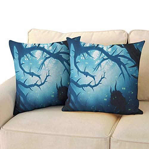 Mystic,Square Pillow Case Animal with Burning Eyes in The Dark Forest at Night Horror Halloween Illustration 16