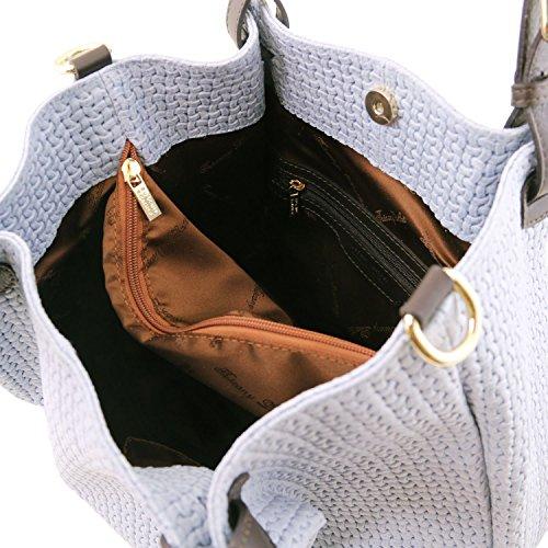 81415734 - TUSCANY LEATHER: TL KEYLUCK - Tasche aus geprägtem Leder - Klein, Himmelblau