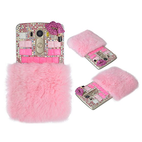 Spritech(TM) Bling Phone Case For LG G Stylo,3D Handmade Pink Crystal Sexy Rose Mouth Fur Accessary Design Clear Cellphone Cover