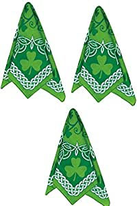 "Amscan Fun Filled St. Patrick's Day Party Shamrock Bandana (3 Pack), 20"" x 20"", Green"
