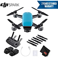 DJI Spark Portable Mini Drone Quadcopter Starter Bundle (Sky Blue) w/Remote Controller + 2 Year Extended Warranty