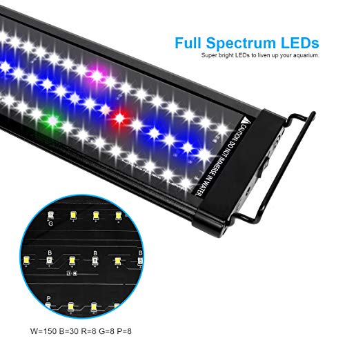 Mingdak LED Aquarium Hood Light - Fish Tank Light, Full Spectrum LED Aquarium Light with Extendable Brackets,Combination Lighting Color White & Blue & Green & Red & Purple,6500K,48 Inches