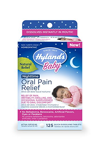 Hyland's Baby Nighttime Oral Pain Relief Tablets with Chamomilla, Soothing Natural Relief of Oral Discomfort, Irritability, and Swelling 125 Count