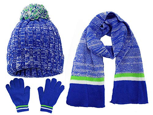 S.W.A.K Kids Girls Knit Pompom Beanie Hat Scarf and Gloves Set One Size Fits Most Multicolor Blue/Lime Green