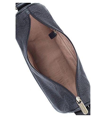 Borbonese Umhängetasche Luna small aus Jet-Textil in Schwarz