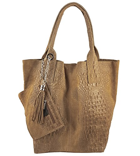 Cabas Cognac femme FreyFashion pour Kroko Italy Made in 1WwWvqaT