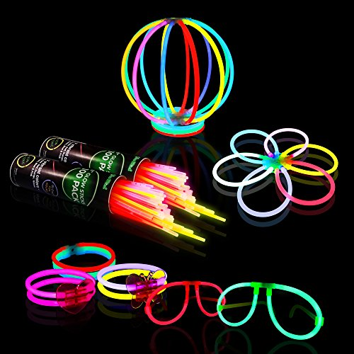 "Halloween Glow in the Dark Party Supplies, 200 8"" Glow Sticks Party Favors Pack in Bulk With Additional 238 Connectors to Create Bracelets, Necklaces, Glow Balls, Eyeglasses and More"