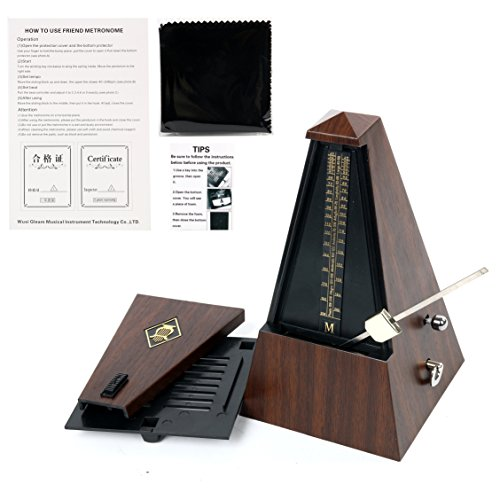 Yaetek Antique Pyramid Mechanical Metronome Vintage Style Teak Wooden Color Music Timer for Musicians -Piano Drum Violin Guitar