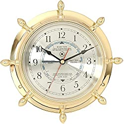 Bey-Berk International Brass Ships Wheel Tide/Time Clock - Tarnish Proof