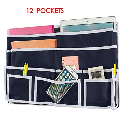 Bathrooms /& Travel Bunk Beds Tablets Dorm Rooms Zonyon 12 Pocket Bedside Caddy Phones Bed Rails Best for Headboards Apartments Hanging Storage Organizer for Books Accessory and TV Remote