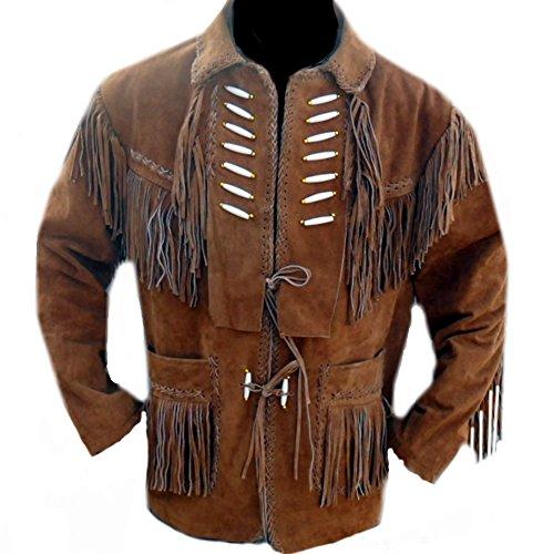 Classyak Western Leather Jacket Fringed & Bones, A Grade Suede Leather, Xs-5xl (Large)