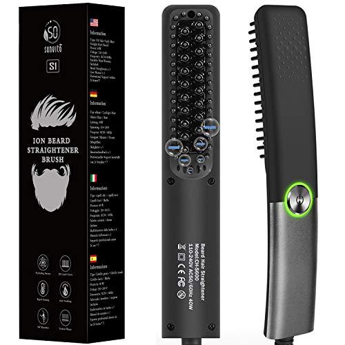 Beard Straightener Comb for Men Hair Straightening Brush for Men Heated Beard Brush Ionic Heating Control Electric Hair Brush, Home and Travel, Gifts for Men