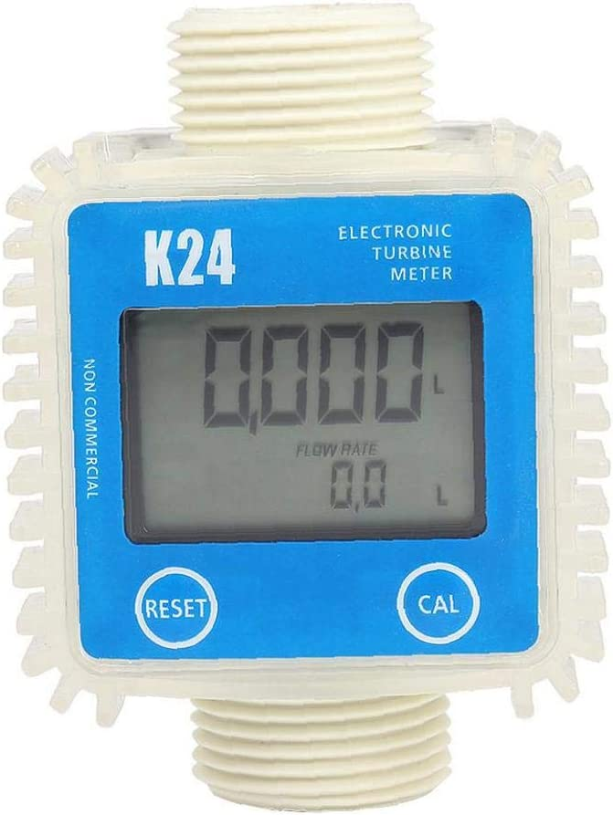 Contador De Agua K24 Digital Medidor De Flujo De Turbina De Flujo De Combustible Agua 10-120l Min Medidor De Flujo Para El Flujo De Productos Qu/ímicos Del Agua De Flujo Ultras/ónico azul Horizontal