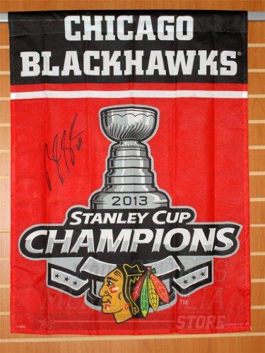 Brandon Saad Chicago Blackhawks signed autographed Stanley cup champions flag B