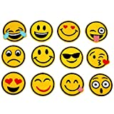 Popculta 24Pcs Emoji Iron-on Appliques Emoticon Faces DIY Embroidered Patches (Pack of 24)