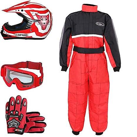 Leopard LEO-X17 Rojo Casco de Motocross para Niños (XL 55cm) + Gafas + Guantes (XL 8cm) + Traje de Motocross para Niños - S (5-6 Años)