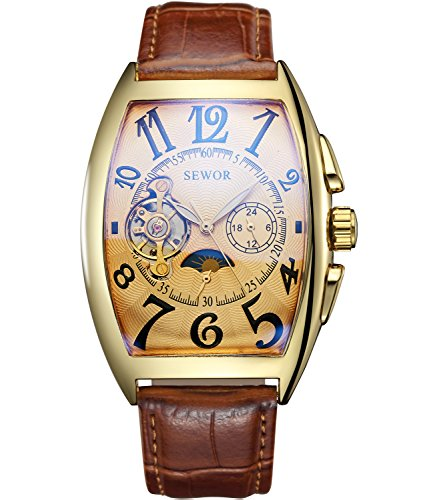 SEWOR Mens Automatic Business Dress Tonneau Moon Phase Wrist Watch Mechanical Self Wind (Gold) (Watch Mens Automatic Dress Jewel)