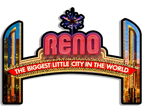 American Vinyl Reno The Biggest Little City in The World Marquee Shaped Sticker (Nevada nv Gamble) (Reno The Biggest Little City In The World)