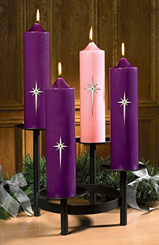 Star of Bethlehem Advent Pillar Candle Set with Candle Holder by FA Dumont