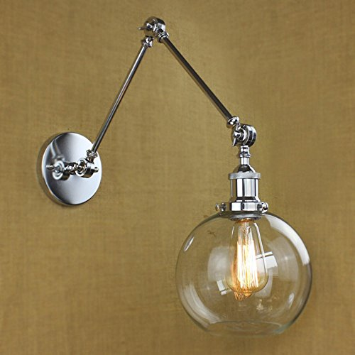 NIUYAO Vintage Industrial 1-light Wall Lighting with Round Clear Glass Shade Adjustable Swing Arm Retro Style Antique Bedside Wall Lamp Decor Lighting Fixture Wall Sconces,Brushed Chrome Finish - Polished Chrome Swing Arm Lamp