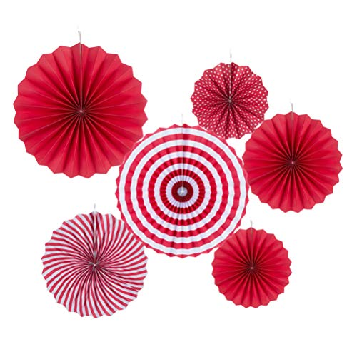 Red Paper Fans Hanging Decoration -