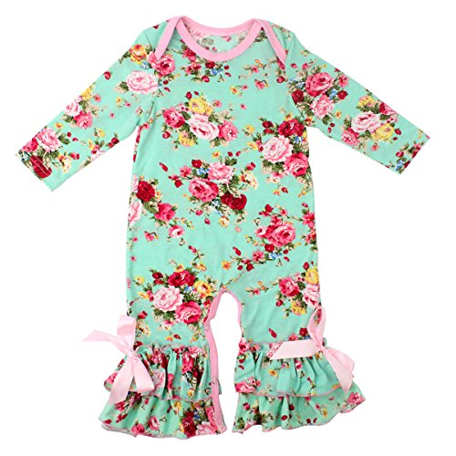 Slowera Baby Girls Flower Romper Long Sleeve Ruffles
