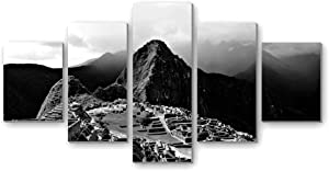 Mayan civilization ruins - Canvas Print Pictures 5 Piece Wall Art Stretched and Framed Artwork Home Decor Ready to Hang Posters and Prints(60''Wx32'H) Black and white