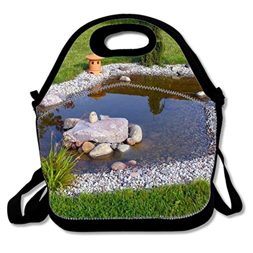 Waterproof Lunch Box Tote Garden Pond Food Handbag Insulation Board For Adults - Autumn Pond Food