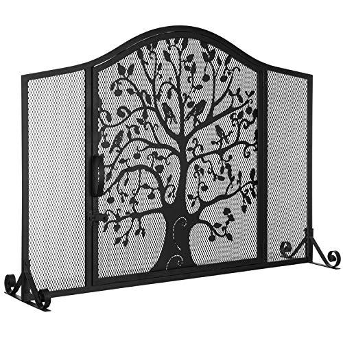 - MyGift Black Wrought Iron Fireplace Screen Door with Silhouette Tree & Bird Design