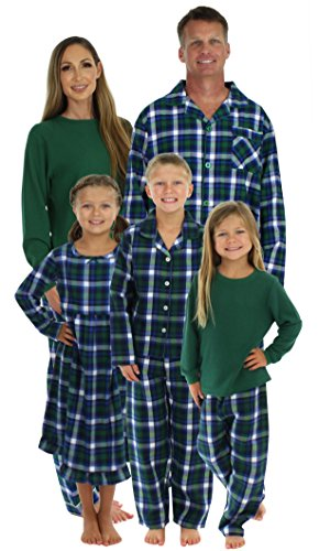 SleepytimePjs Family Matching Winter Green Plaid Pajamas PJS Sets For The Family Men's Lounger (STM-3024-M-2002-XL)