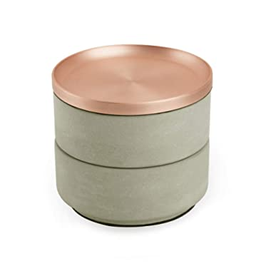 Umbra Tesora Jewelry Box – Two-Tiered Resin Jewelry Organizer with Removable Lid, Concrete/Copper