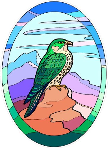 Stained Glass Mountains - Wild Hawk Bird on Mountain - Etched Vinyl Stained Glass Film, Static Cling Window Decal