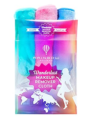RAINBOW ROVERS Set of 3 Makeup Remover Cloths   Chemical Free   Suitable for All Skin Types   Reusable & Ultra fine Makeup Wipes   Removes Makeup with Water   Travel Pack