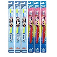Oral-B Mickey and Minnie Mouse Kids Toothbrush, Children Ages 2-3+ Years Old, Extra Soft Bristles- Pack of 6