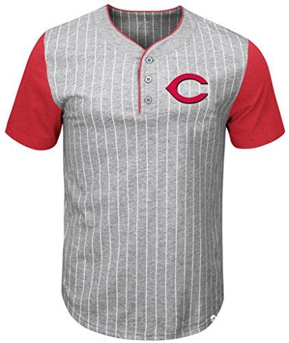 Pinstripe Henley Tee (VF Cincinnati Reds MLB Mens Majestic Life Or Death Pinstripe Henley Shirt Gray Big & Tall Sizes (5XT))
