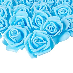 Juvale Rose Flower Heads - 100-Pack Artificial Roses, Perfect for Wedding Decorations, Baby Showers, Crafts - 3 x 1.25 x 3 Inches 47