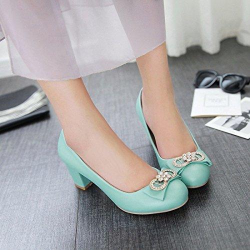 YE Damen Chunky Heels Low Cut Pumps mit Glitzer Strass und Schleife Office Party Schuhe Blau