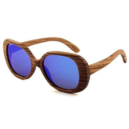 Gafas sol Marco Redondo polarizadas de Madera Retro Cuadro Grande Gafas de Madera y Hombres de