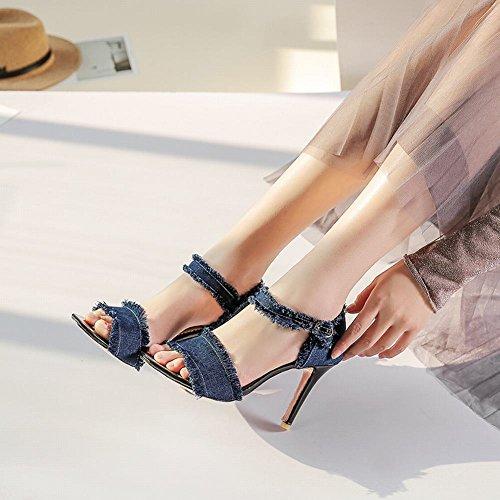Charm Sandalo Donna Con Tacco Alto Alla Caviglia E Sandali Con Tacco Blu Scuro
