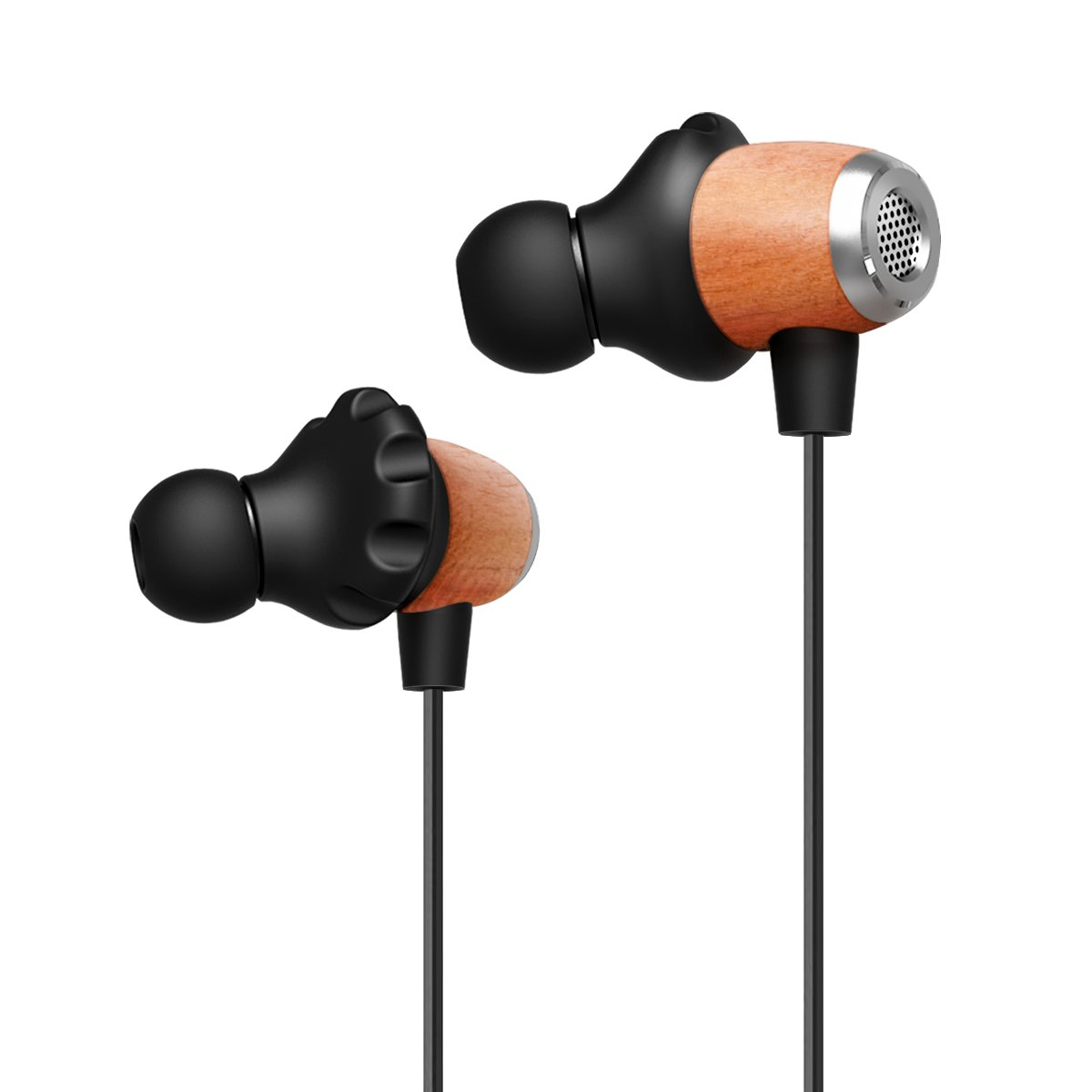 Wireless Bluetooth Wood In ear Noise isolating Headphones Earbuds Earphones with Microphones and Volume Control for iPhone iPad Android Smartphones