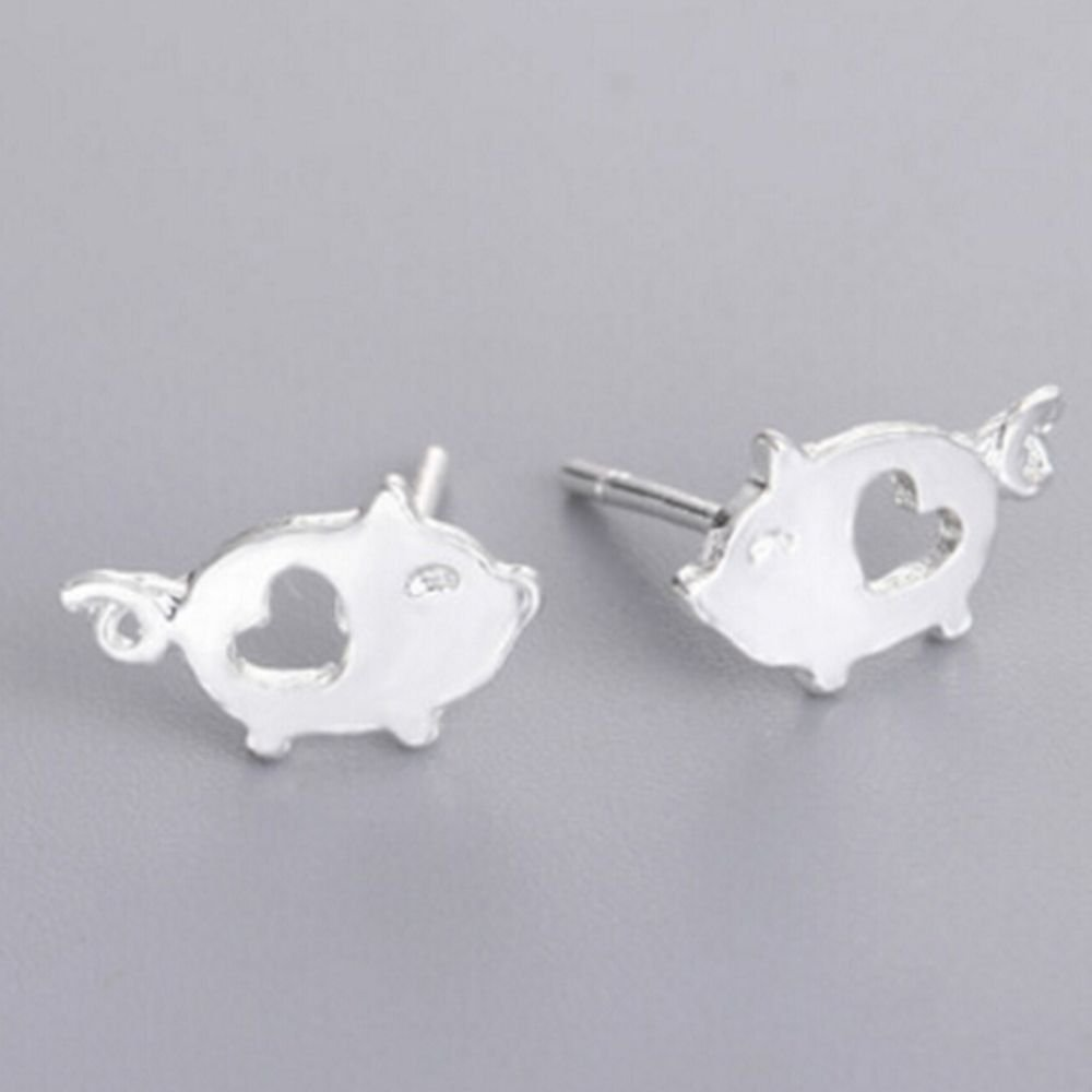 Napafashion Lovely Love Piggy Silver Girls Animal Fashion Women Jewelry Pig Gift Earrings