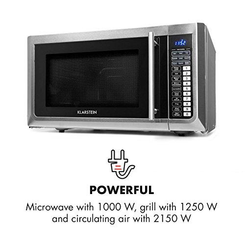 Klarstein Brilliance Pro 43 - Microondas 1500 W, Función grill 1250 W, Convección 2150 W, 43 L de volumen, 9 programas, Panel táctil, 20 kg, Incluye ...