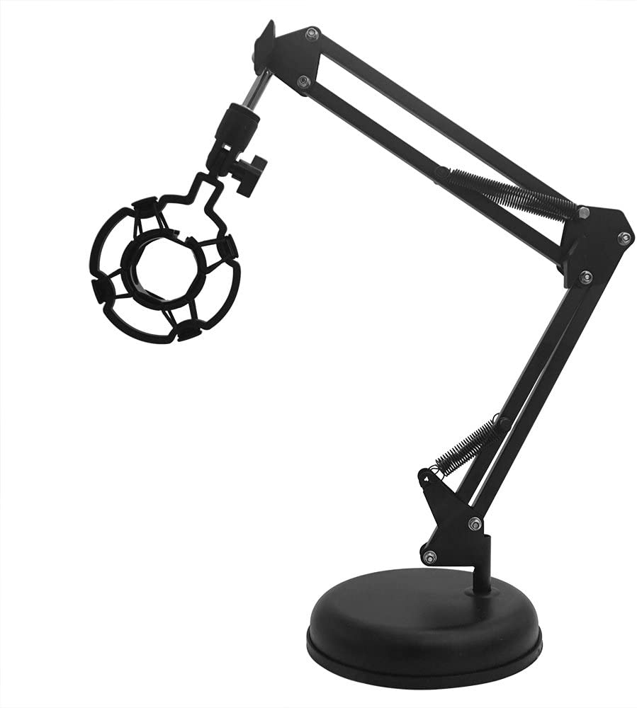 Sywon Desktop Microphone Stand, Adjustable Microphone Suspension Boom Scissor Arm Stand with Mic Shock Mount for lightweight Micphone in Studio, Video Room, TV Station, Broadcast and Home