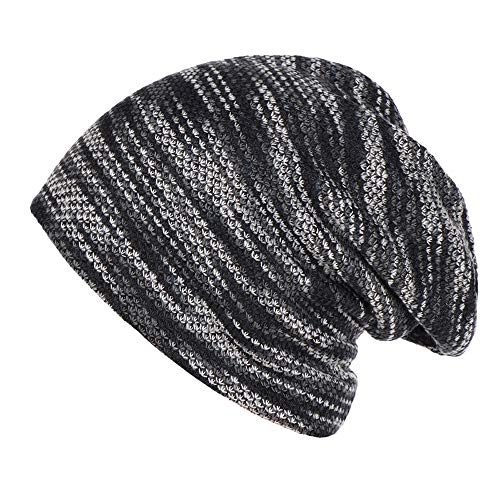 LEXUPA Fashion Women Mens Warm Striped Knitted Outdoors Casual Hat Ruffle Wrap Cap(One Size,Gray)