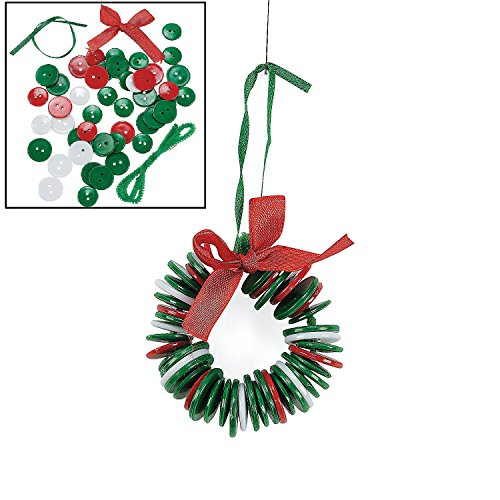 Button Wreath Ornament Craft Kit - Crafts for Kids & Ornament Crafts, Makes 12