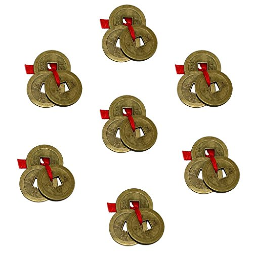 Red Chinese Coin Set (Divya Mantra Chinese Feng Shui Antique Fortune I-Ching Coin Ornaments for Good Luck, Success & Prosperity/Ancient Tibetan Buddhist Wealth Charm Amulet Coins w/ Hole & Red Knot – Brown, Set of 7)