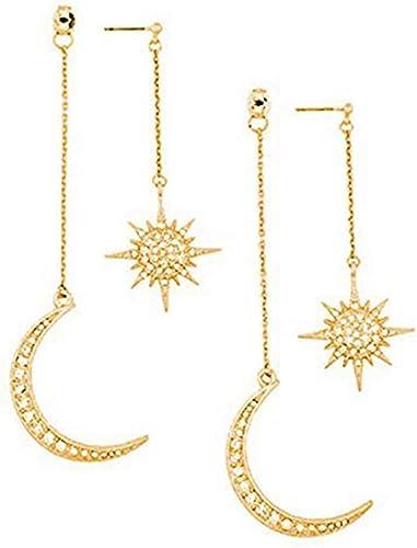 Zuo Bao Dainty Crescent Earrings Sunburstand and Moon Dangle Drop Earrings Celestial Galaxy Jewelry