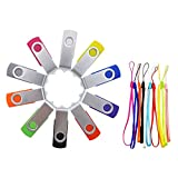 FEBNISCTE 10pcs Swivel Multi-Coloured 4GB USB Thumb Stick Pen Drive - 10 Color Assorted
