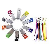 FEBNISCTE 10 Pack 512MB Swivel Design USB 2.0 Flash Drive Memory Stick - 10 Color Assorted