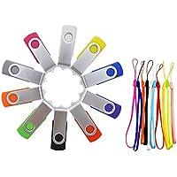 FEBNISCTE 10pcs Swivel 8GB USB2.0 Flash Drive Color Assorted Thumb Disk Multi-Pack Memory Stick
